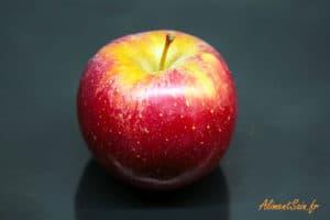 Une pomme bien rouge (variété Dalinette)