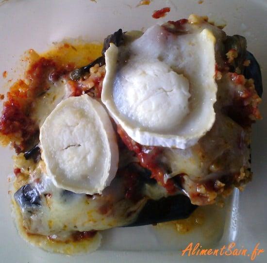 Présentation du plat aux aubergines et bougour