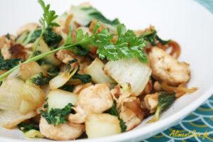Poulet saté cuisiné au wok